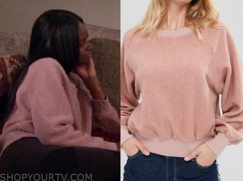 natasha p., the bachelor, pink teddy sweatshirt