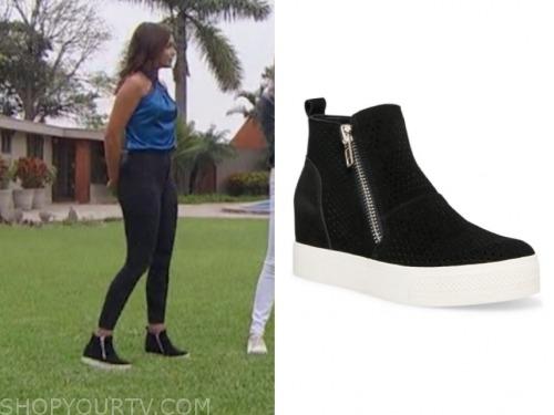 hannah ann sluss, the bachelor, black suede slip on sneakers
