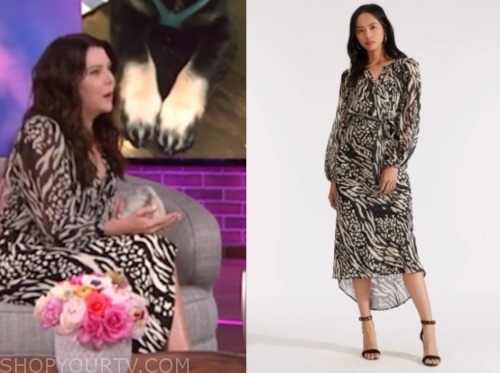 lauren graham, the kelly clarkson show, zebra print midi dress