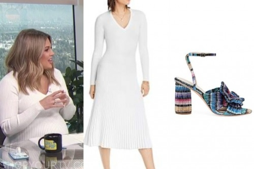 carissa culiner, E! news, white knit midi dress, multicolor sandals