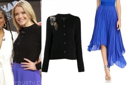 sara haines, good morning america, blue pleated skirt, black embellished cardigan