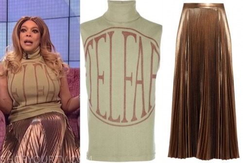 wendy williams, the wendy williams show, logo top, gold pleated skirt