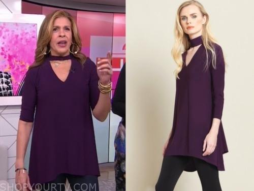 the today show, hoda kotb, purple choker tunic top