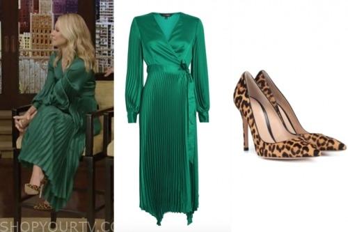 kelly ripa, green pleated midi dress, live with kelly and ryan