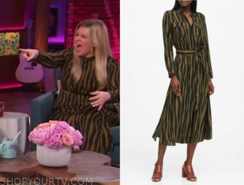 kelly clarkson, the kelly clarkson show, zebra print midi dress