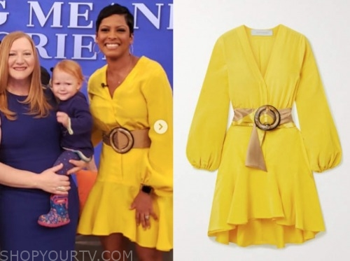 tamron hall, yellow belted dress, tamron hall show