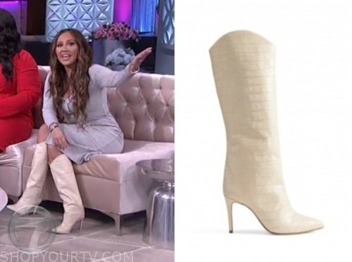 adrienne bailon, ivory snakeskin boots, the real
