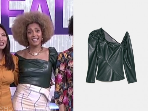 amanda seales, the real, green leather top