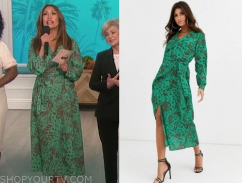 the talk, carrie ann inaba, green and brown printed midi wrap dress