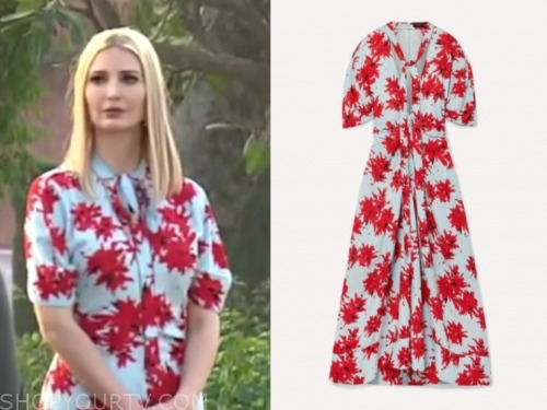 ivanka trump, fox and friends, blue and red printed dress