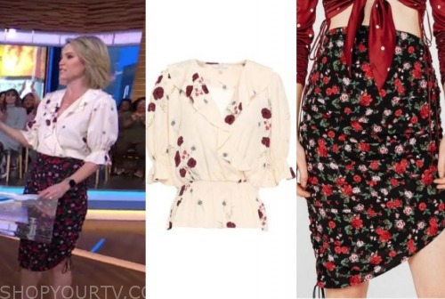 gma, amy robach, floral top and skirt