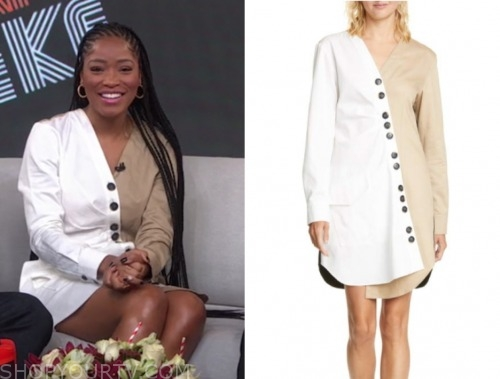 gma3, keke palmer, beige and white button dress