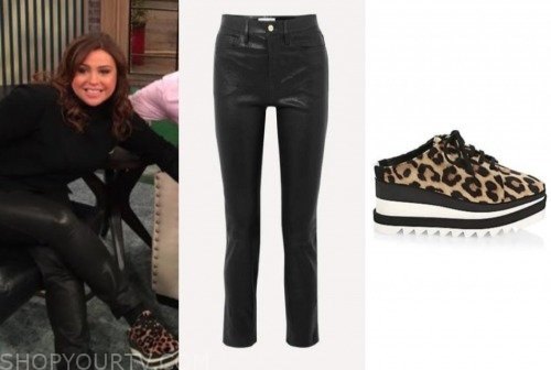the rachael ray show, rachael ray, black leather pans, leopard sneakers