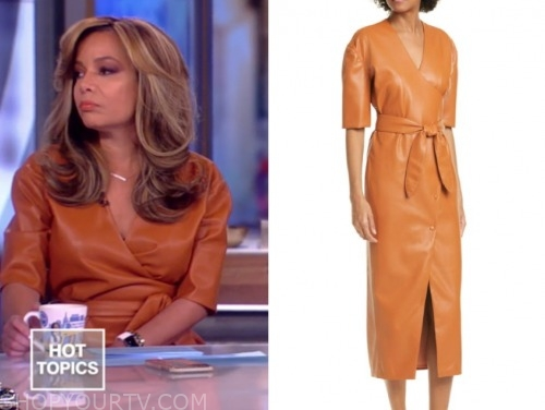 the view, leather midi dress, sunny hostin