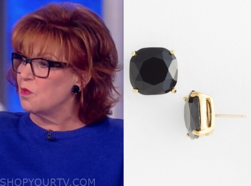 joy behar, black stud earrings, the view