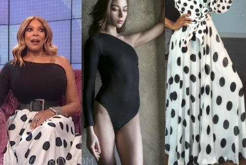 the wendy williams show, wendy williams, black one-shoulder top, black and white polka dot skirt