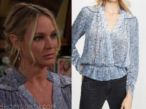 sharon case, sharon newman, blue printed blouse, the young and the restless
