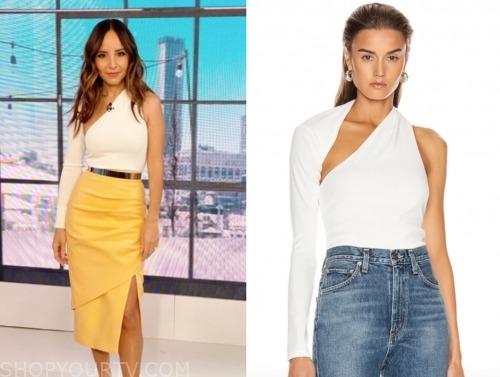 lilliana vazquez, E! news, white bodysuit top
