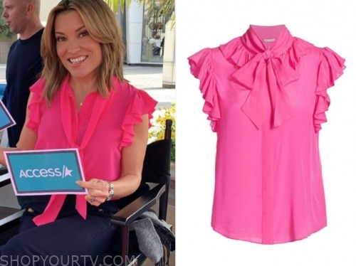 access hollywood, pink ruffle tie neck top, kit hoover