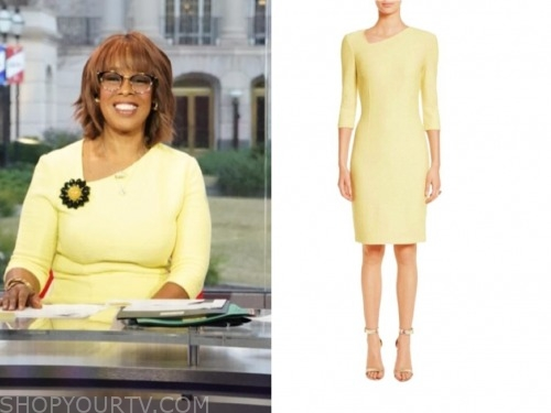 gayle king, yellow sheath dress, cbs this morning