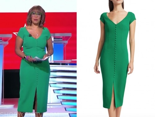 gayle king, green sheath dress, cbs this morning