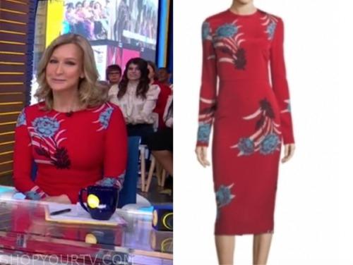 lara spencer, gma, red floral sheath dress