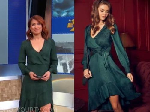 ginger zee, green jacquard wrap dress, gma