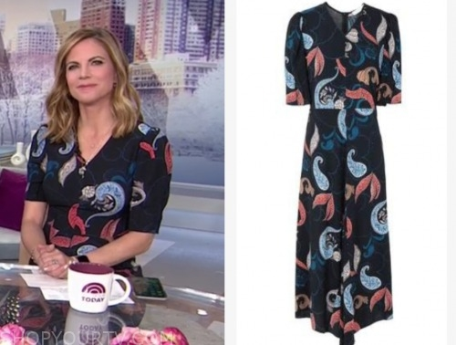 natalie morales, the today show, black paisley midi dress
