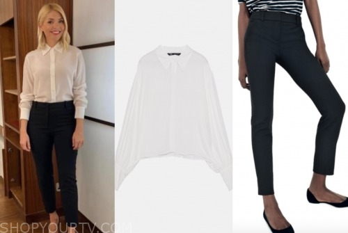 this morning, holly willoughby, white shirt, black pants