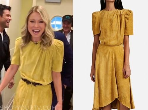 kelly ripa, yellow corduroy dress, live with kelly and ryan