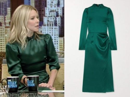 kelly ripa, live with kelly and ryan, green satin midi dress