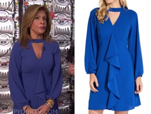 hoda kotb, the today show, blue ruffle keyhole dress