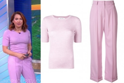 good morning america, ginger zee, lilac purple sweater and pants
