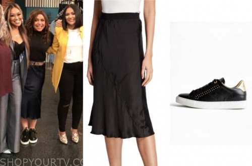 the rachael ray show, rachael ray, black silk skirt, black and gold sneakers