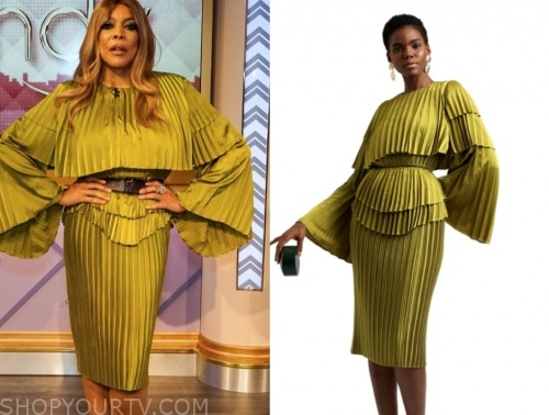 wendy williams, the wendy williams show, green pleated dress