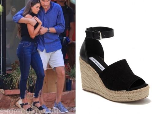 the bachelor, black wedge sandals, madison