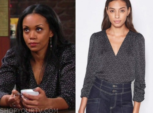 amanda sinclair, the young and the restless, mishael morgan, printed blouse