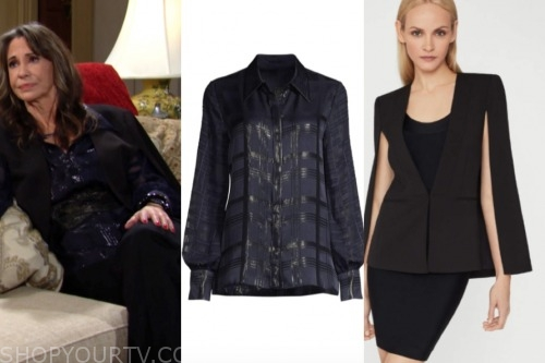 jill, the young and the restless, black cape jacket, metallic blouse, jess walton