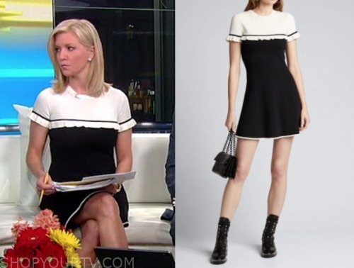 fox and friends, ainsley earhardt, black and white dress