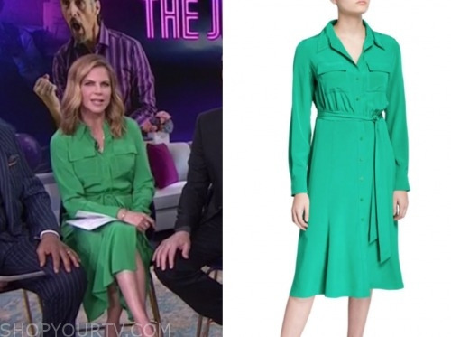 natalie morales, the today show, green shirt dress