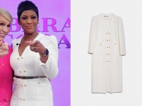 tamron hall, tamron hall show, white tweed midi dress