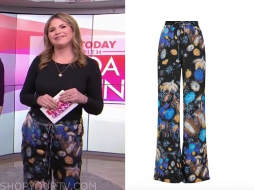 the today show, jenna bush hager, blue printed drawstring pants