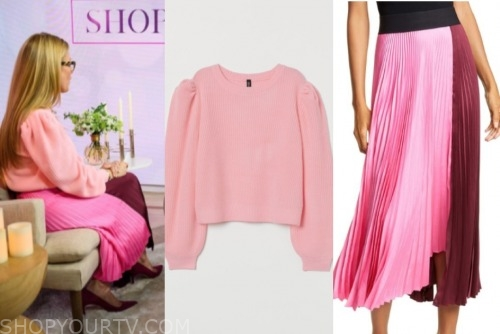 the today show, jill martin, pink sweater, pleated skirt