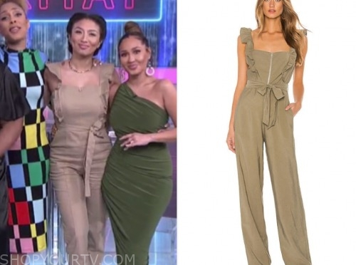 jeannie mai, the real, beige ruffle jumpsuit