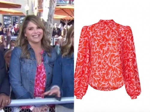 the today show, jenna bush hager, red and pink printed blouse