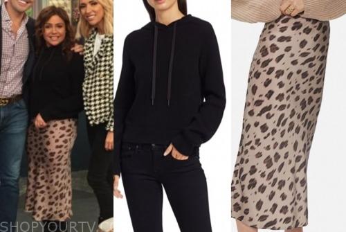 the rachael ray show, rachael ray, black sweater, animal print skirt