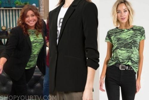 the rachael ray show, rachael ray, green printed top, black blazer