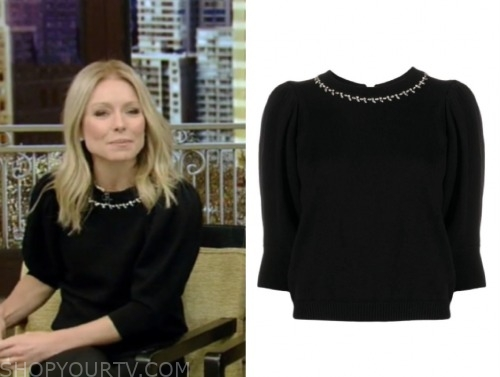 live with kelly and ryan, kelly ripa, black embellished short sleeve sweater