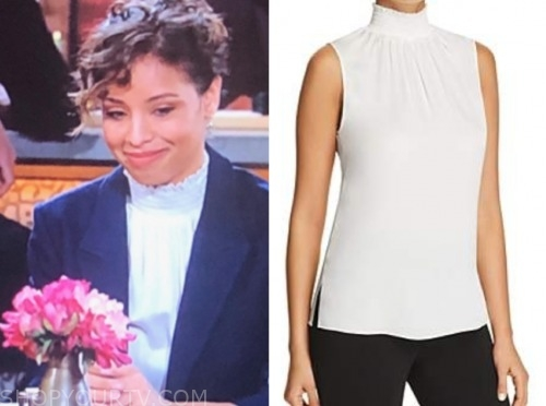 the young and the restless, elena dawson, brytni sarpy, white mock neck top