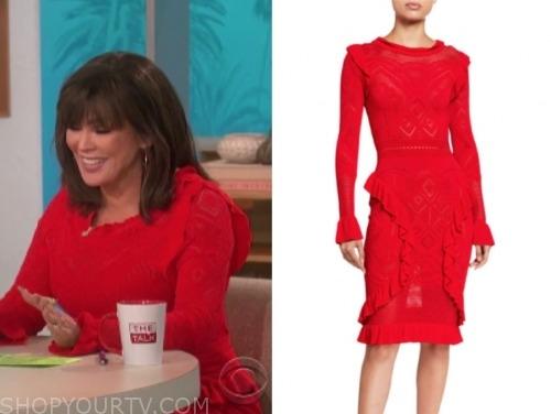 the talk, marie osmond, red knit ruffle dress
